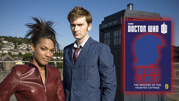 David Tennant and Freema Agyeman and the cover of Doctor Who: The Mystery of the Haunted Cottage