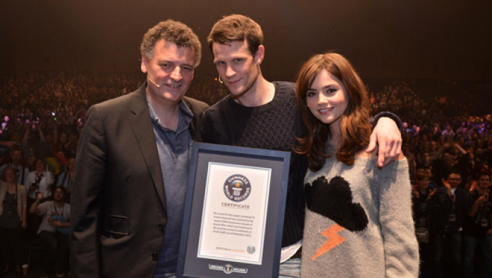 Steven Moffat, Matt Smith and Jenna Coleman accept the Guinness World Record
