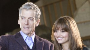 Peter Capaldi and Jenna Coleman on set for Doctor Who Series 8