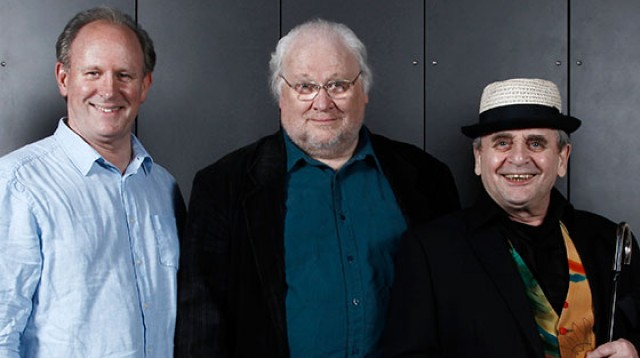 Peter Davison, Colin Baker and Sylvester McCoy strike a pose at the Doctor Who Celebration