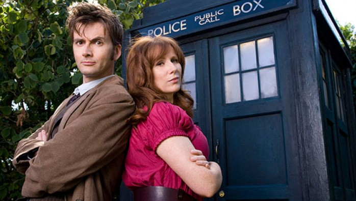 The Tenth Doctor (David Tennant) and Donna Noble (Catherine Tate) outside the TARDIS in Doctor Who