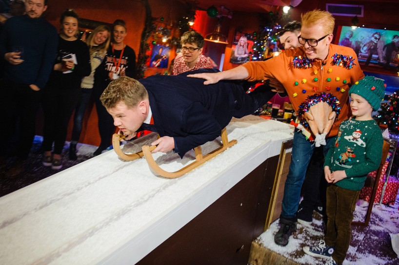 James Corden. Future Winter Olympic champion? #TFIFriday