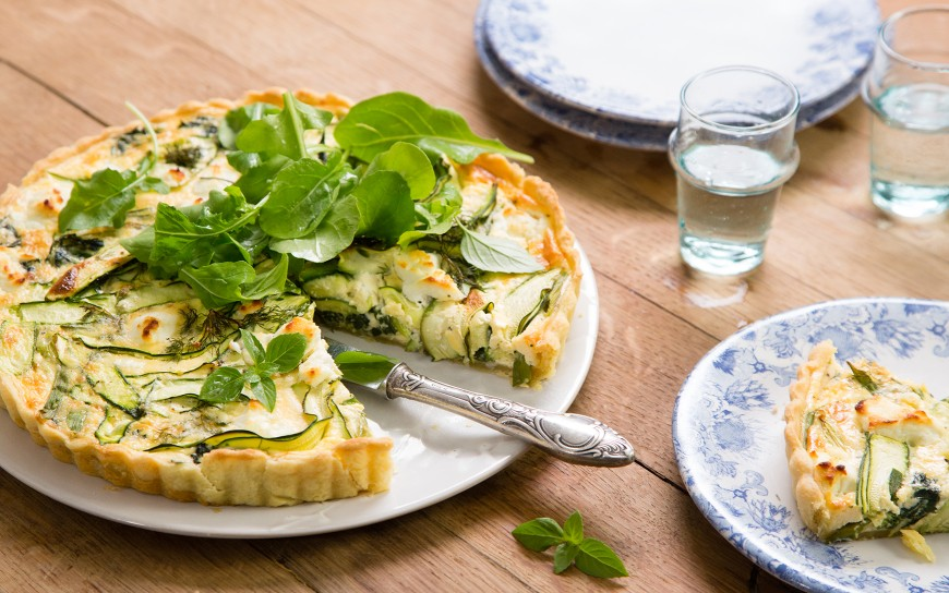 Spinach, courgette and goats cheese tart