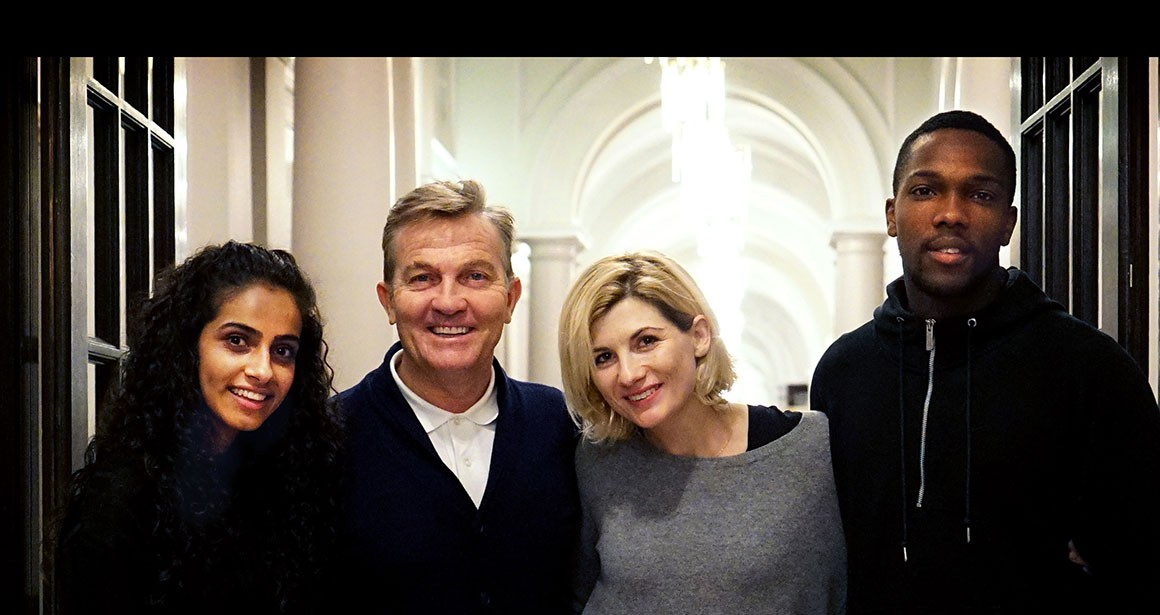 Yasmin (Mandip Gill), Graham (Bradley Walsh), Jodie Whittaker (the Doctor) and Ryan (Tosin Cole)