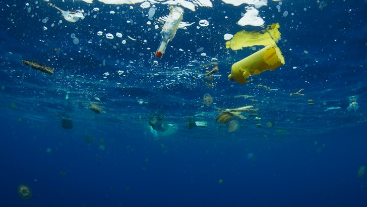 Even in the most remote areas of the open ocean, plastic flotsam can be found, with far-reaching consequences for marine life (Credit: BBC 2017)