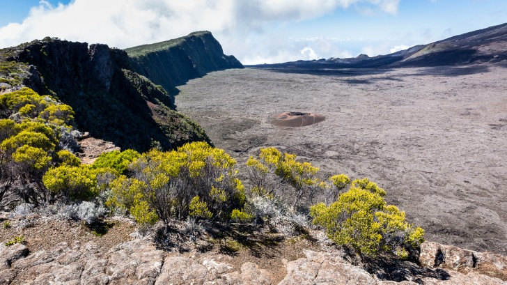 Looking into the crater of Piton de la Fournaise.