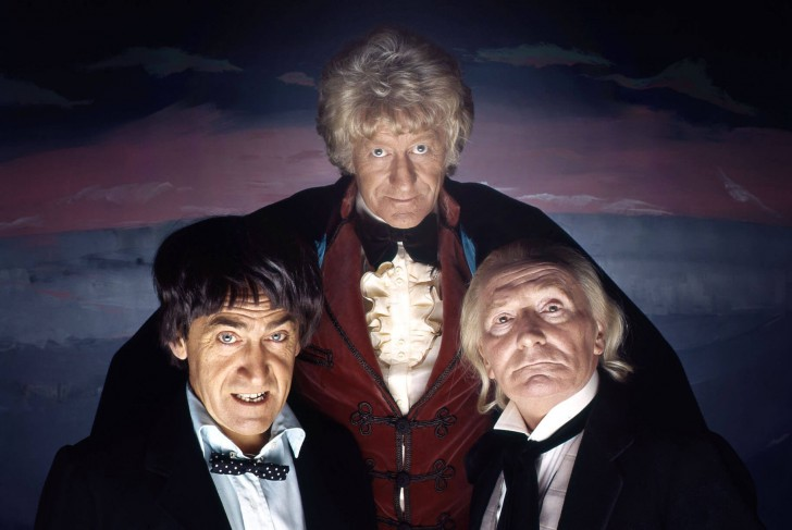 William Hartnell (right) as the First Doctor, Patrick Troughton (left) as the Second Doctor, and Jon Pertwee (middle) as the Third Doctor pictured here for the four-part serial, The Three Doctors (1972).
