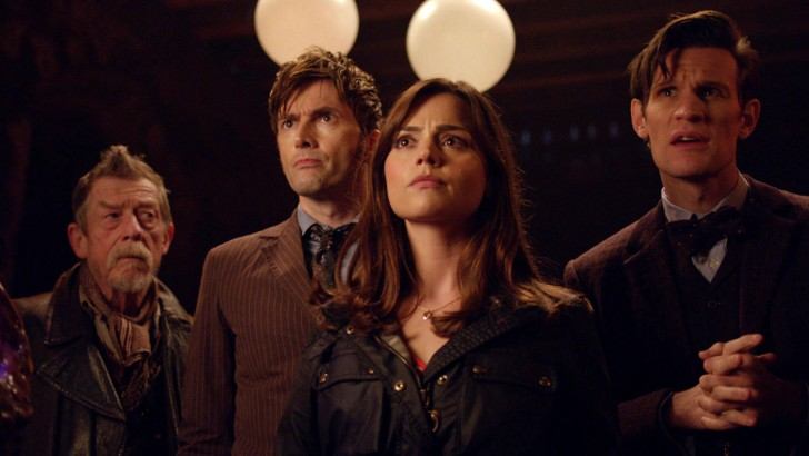 From left to right: John Hurt as the War Doctor, David Tennant as The Tenth Doctor, Jenna Coleman as Clara and Matt Smith as the Eleventh Doctor in the 50th anniversary special, The Day of the Doctor (2013).