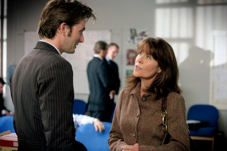 David Tennant as The Tenth Doctor (pretending to be a physics teacher called Mr. John Smith) and Elisabeth Sladen as Sarah Jane Smith in School Reunion (2006).