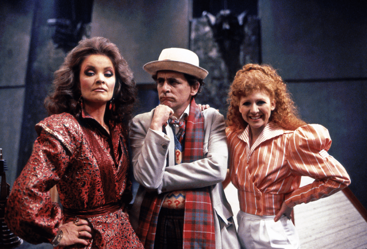 Kate O'Mara as the Rani (left) Sylvester McCoy as the Seventh Doctor (middle) and Bonnie Langford as Mel (left) in Time and the Rani (1987).