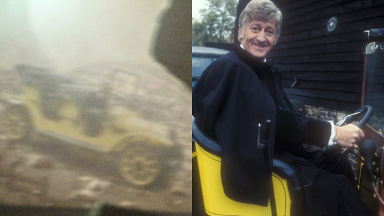 The Third Doctor in Bessie, as seen in the Doctor Who 50 year trailer
